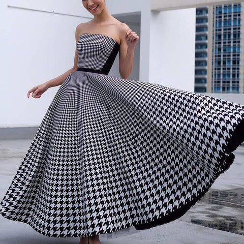 Finalpink Fashion tube top houndstooth long dress