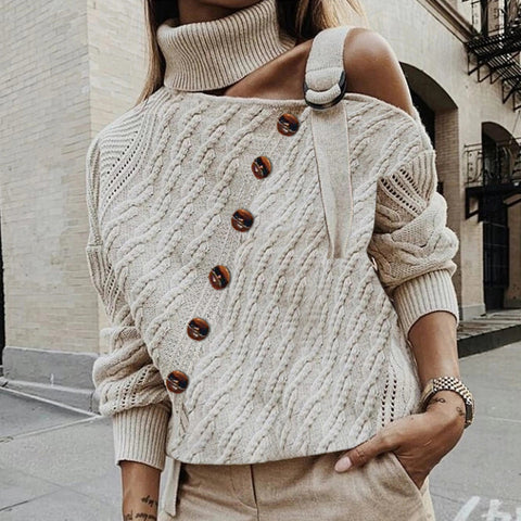 Finalpink Fashion High Collar Open Shoulder Knitted Sweater