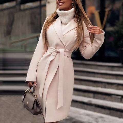 Finalpink Women's Fashion Turndown Collar Long Sleeve Belted Pure Color Overcoat
