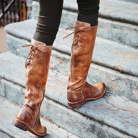 Retro ladies back lace-up round-toed low-heel boots