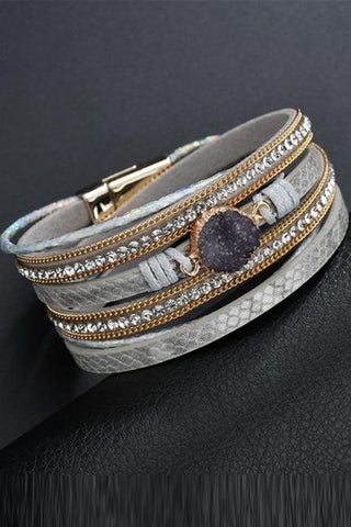 Sheinnow Fashion Gold Plated Diamond Magnetic Clasp   Bracelets