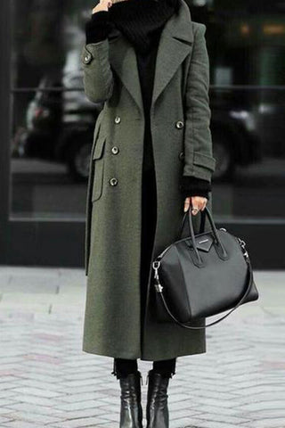 Finalpink  Green Trench Coat With Turn-Down Collar Elegant Wool Coat