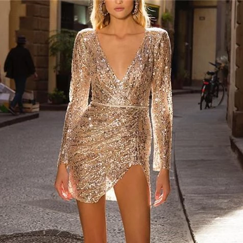 Finalpink Sexy Sequined Decorative Deep V-Neck Dress