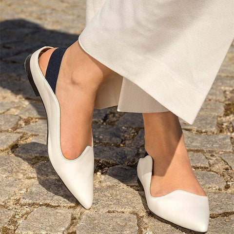 Sheinnow Summer 2019 Women's Pointed-Toe Flat Heel Single Shoes Sandals
