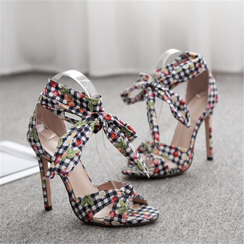 SHEINNOW Sweet Floral Cloth Strap High Heel Sandals