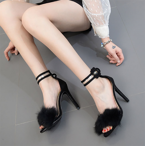 Sheinnow High Heel Stiletto Snake Fur Sandals