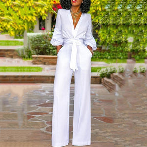 Sheinnow Sexy V Neck Bishop Sleeve Belted Pure Colour Jumpsuit