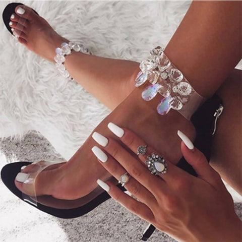 Sheinnow Clear Design Shiny Ankle Heeled Thin Sandals