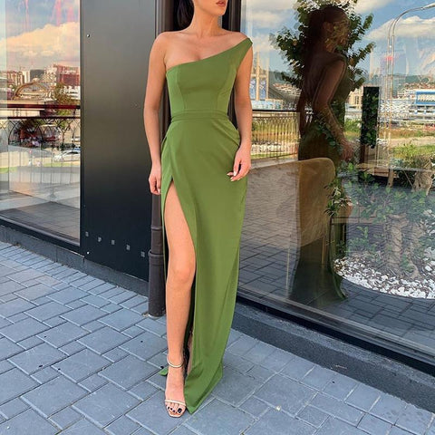 Sexy Solid Color One Shoulder High Split Slim Fit Maxi Dress