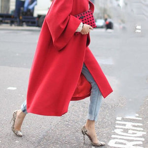 Sheinnow Elegant Lapel Plain Loose Red Woolen Long Coat