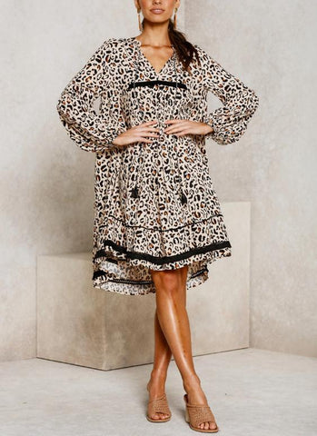 Sheinnow Fashion V-Neck Print Leopard Mini Dress