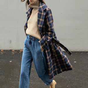 Sheinnow Chic Lapel Check Printed Loose Woolen Long Coat With Waistband