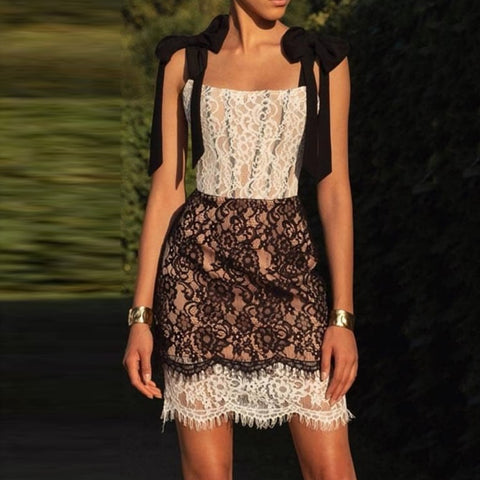 Fashion lace tie color matching perspective dress