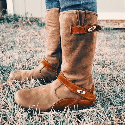 Women's fashion solid color suede belt buckle shock absorber boots