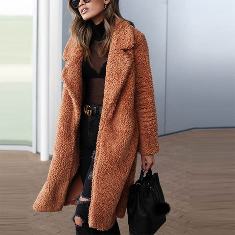 Sheinnow Fashion solid color fold-over collar long-sleeved coat