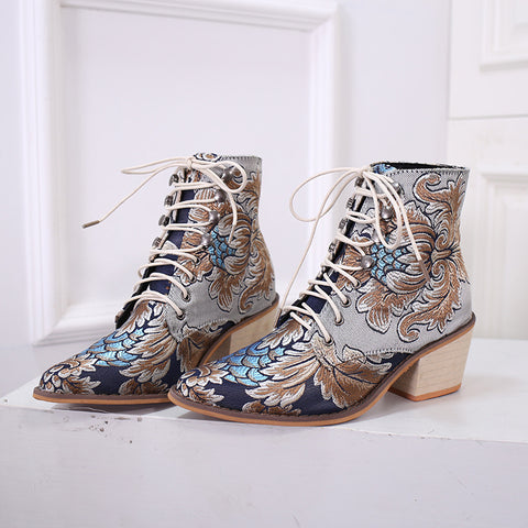 Noble Embroidered High Heel Thick with pointed toe ankle boots
