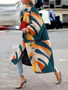 Sheinnow Fashion Printed Colour   Long Sleeve Coat
