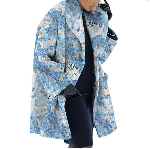Finalpink New Warm Fashion Print Shawl Collar Coat
