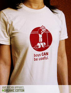 boys can be useful women's t-shirt