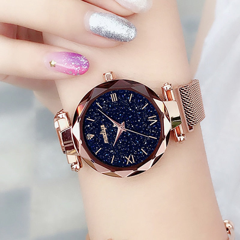Magnetic quartz fashion watch for women on a magnetic clasp Water resistant dial Starry sky in a diamond style trend of 2019 Buy now!