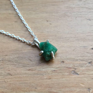 Uncut & Raw Emerald Handmade Necklace