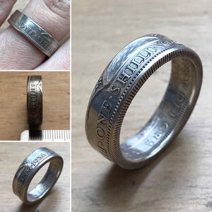 One Shilling Coin Ring - Made to Order - Silver Plated - Shwen Design Uk