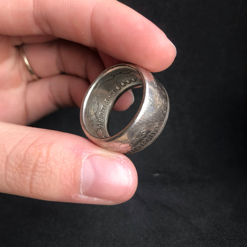 1889 Morgan Silver Dollar Coin ring - Size W