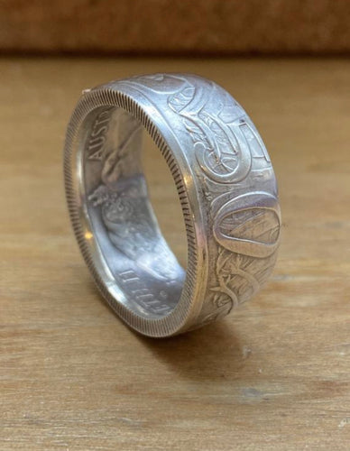 1966 Silver Australian 50 cent coin ring - UK Size U