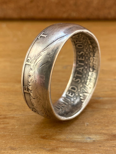 Silver Kennedy Half Dollar Coin Ring - Made to Order