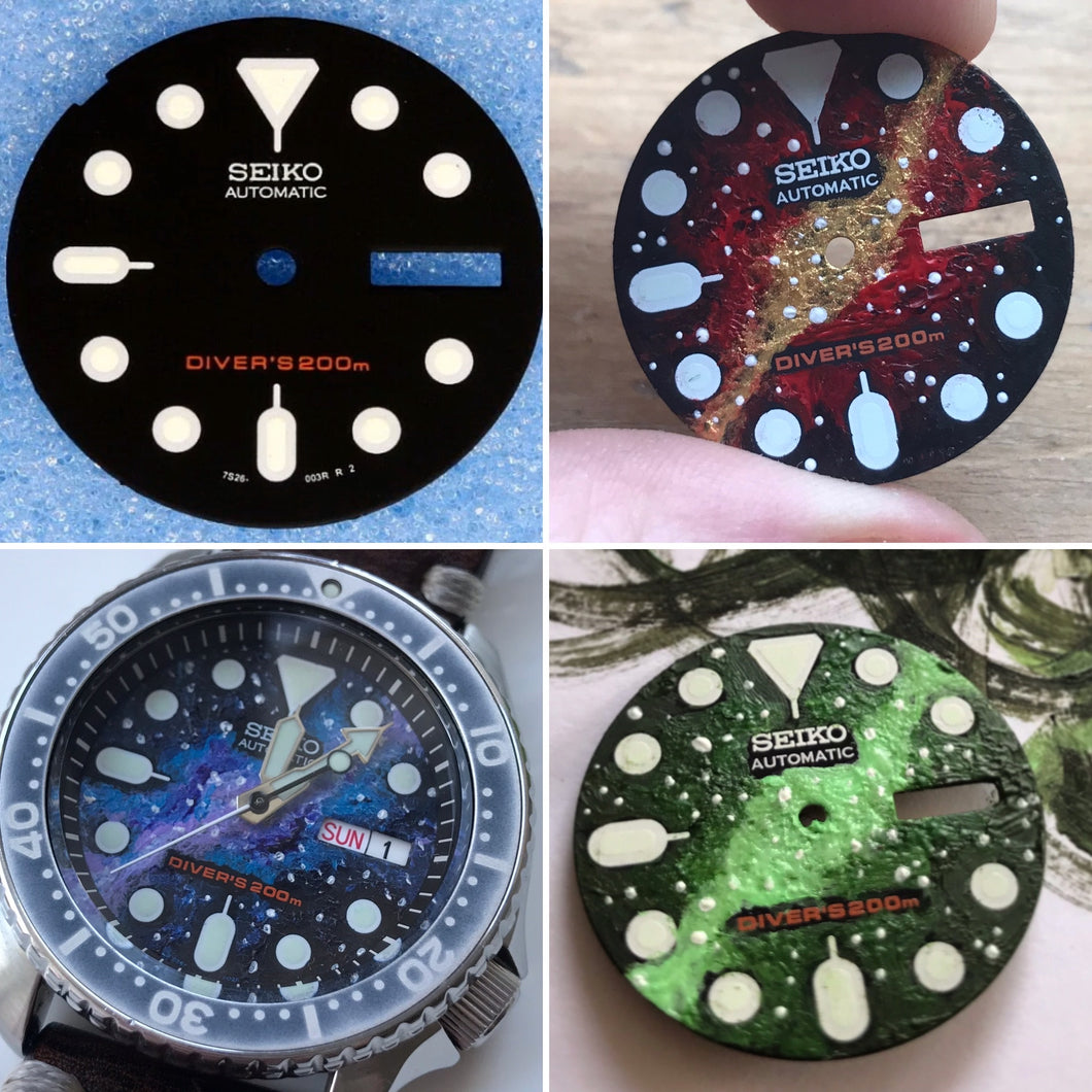 Seiko SKX013 Dial - Hand Painted Galaxy Watch Dial