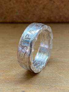 Chinese Macau 5 Patacas Coin Ring - Size T