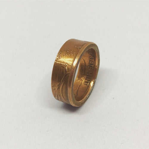Copper Coin Ring - 1/2 Ounce Walking Liberty Golden State Mint - Shwen Design Uk