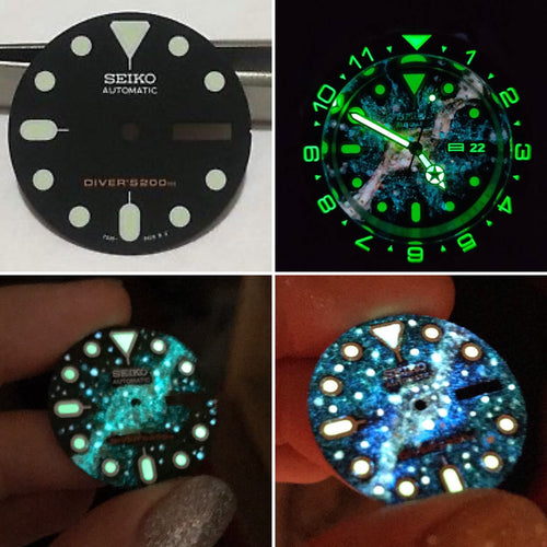 Seiko SKX007 Dial - Hand painted Galaxy GLOW Watch Dial