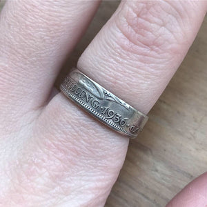 English One Shilling Coin Ring (1936) - Size O
