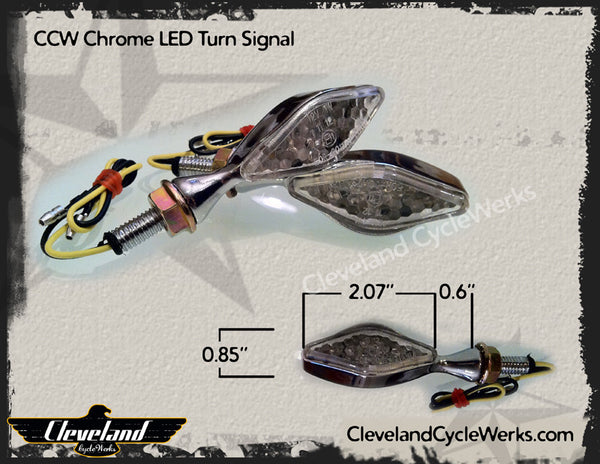 CCW Small LED Turn Signals - Chrome