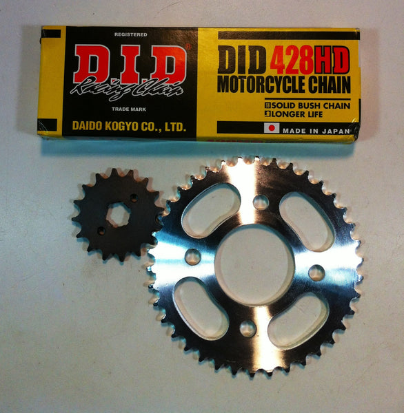D.I.D 428HD Chain + 16 tooth front sprocket + 38tooth rear sprocket combo