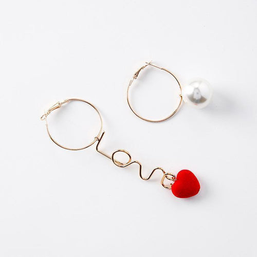 Beiby Bamboo accessories Red Velvet Heart Earrings