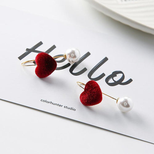 Beiby Bamboo accessories wine red heart Pearl  U Shape Heart Earring