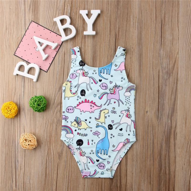 Beiby Bamboo baby swimsuit A 70 Summer Baby Girls One-piece Unicorn Print Swimsuit