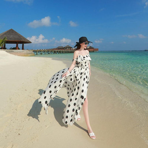 Beiby Bamboo Beach Dress S 2019 Summer Vintage Polka Dot Chiffon French Style Beach Dress