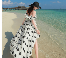 Load image into Gallery viewer, Beiby Bamboo Beach Dress S 2019 Summer Vintage Polka Dot Chiffon French Style Beach Dress