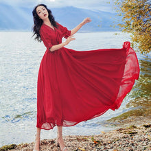 Load image into Gallery viewer, Beiby Bamboo Beach Dress S Red Chiffon Beach Dress