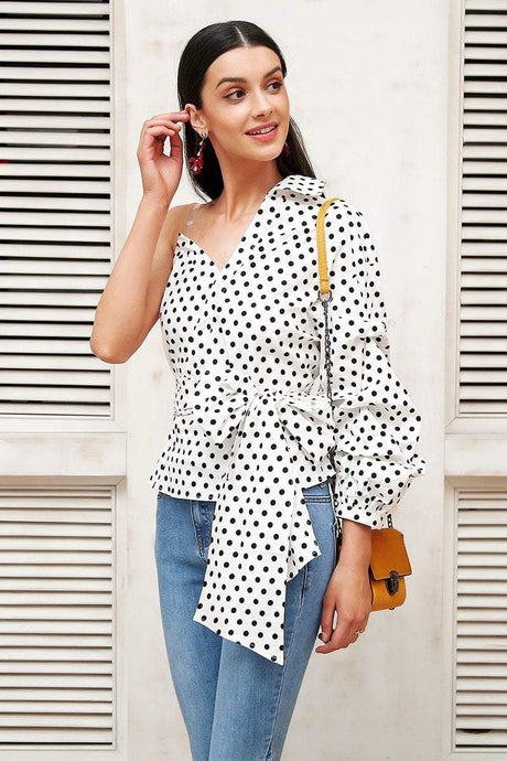 Beiby Bamboo Blouses & Shirts Black White Dot / S Fashion Women One Cold shoulder Polka Dots Lantern Sleeve Blouse