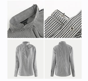 Beiby Bamboo Blouses & Shirts Plaid / S Women Plaid One Cold Shoulder Soft Blouse