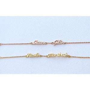 Beiby Bamboo brcelet Gold Color Personalized Double Name Bracelet