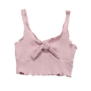 Beiby Bamboo Camis Pink Spaghetti Strap Crop Top