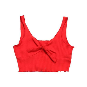Beiby Bamboo Camis Red Spaghetti Strap Crop Top