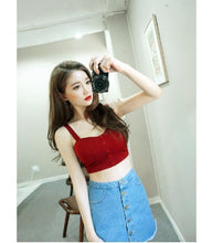 Load image into Gallery viewer, Beiby Bamboo Camis XS Women Camisole Summer Sleeveless Slim Low Chest Button Crop Top, Color - red striped