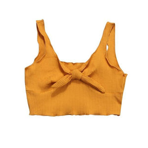 Beiby Bamboo Camis Yellow Spaghetti Strap Crop Top