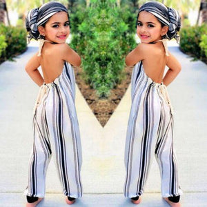 Beiby Bamboo Clothing Sets 2T Summer Toddler Baby Girls Stripe Backless Sleeveless Romper 0-5T